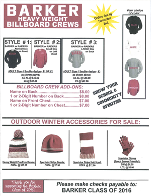 Class of 2016 Apparel Sale
